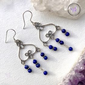 Lapis Lazuli Silver Chandelier Earrings